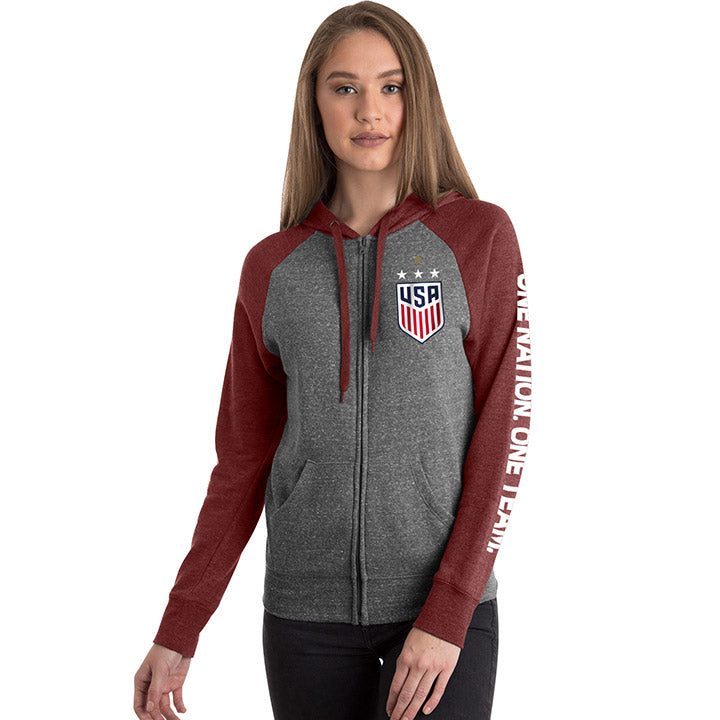 5TH & OCEAN WOMENS 4STAR TRIBLEND FULL ZIP CONTRAST HOOD