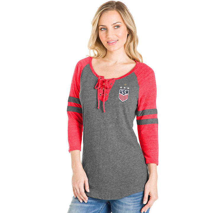 WOMEN'S 5TH&OCEAN WNT 4STAR LACE UP TRIBLEND 3/4 SLEEVE RAGLAN