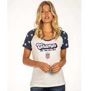 WOMEN'S 5TH&OCEAN WNT 4STAR STAR SLEEVE CHAMP TEE