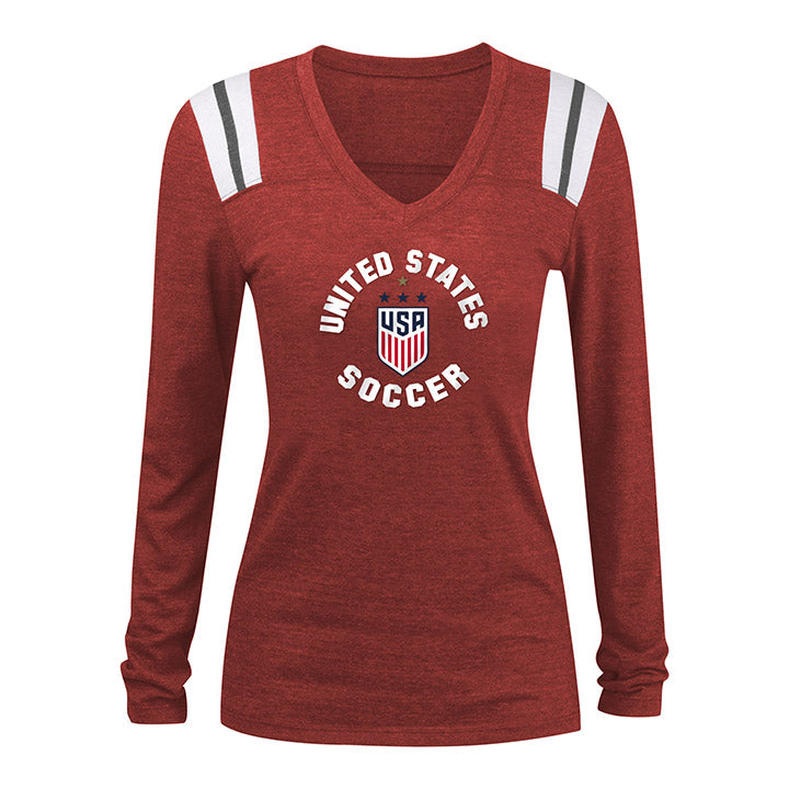 WOMEN'S 5TH&OCEAN WNT 4STAR TRIBLEND CHAMP LONG SLEEVE TEE