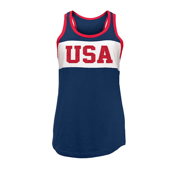 WOMENS 5TH & OCEAN WNT CONTRAST USA TANK