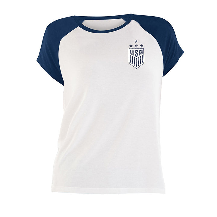 WOMENS 5TH & OCEAN WNT RAGLAN DISTRESSED TEE