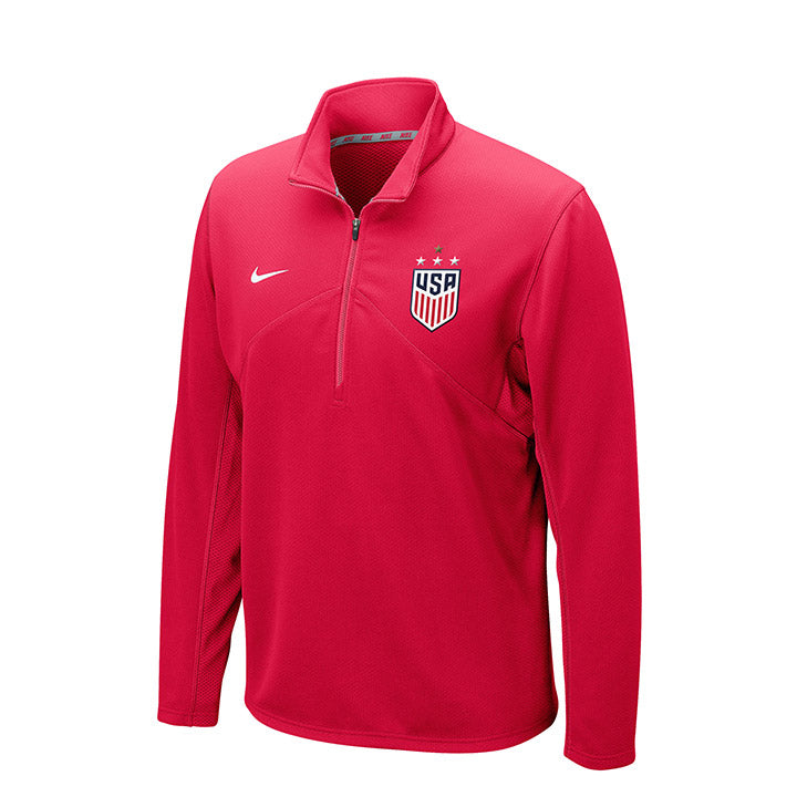 MEN'S NIKE WNT 4-STAR DF TRAINING 1/4 ZIP - RED