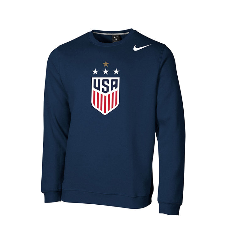 MEN'S NIKE WNT 4-STAR CLUB FLEECE CREW - NAVY
