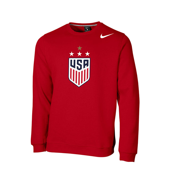 MEN'S NIKE WNT 4-STAR CLUB FLEECE CREW - RED