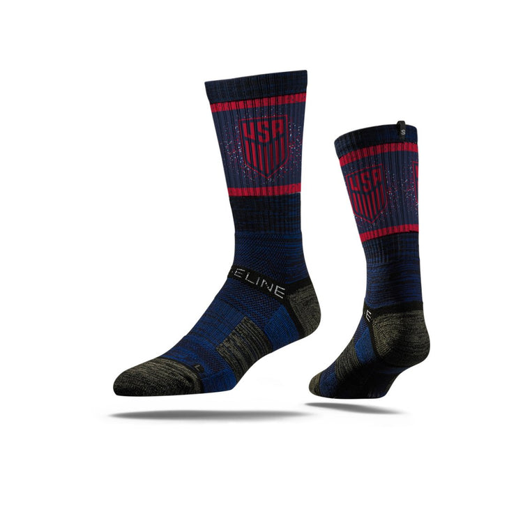 U.S. SOCCER CREST STRIDELINE STATEMENT ATHLETIC CREW SOCKS - NAVY
