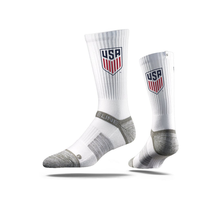 STRIDELINE CREST CLASSIC ATHLETIC CREW SOCKS - WHITE