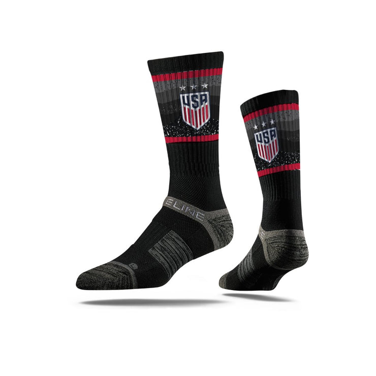 USWNT 3-STAR CREST STRIDELINE WAVY NATION ATHLETIC CREW SOCKS - BLACK