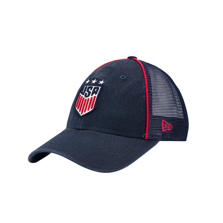 WOMENS NEW ERA WNT 3-STAR USA 920 TRUCKER TRIM HAT - NAVY
