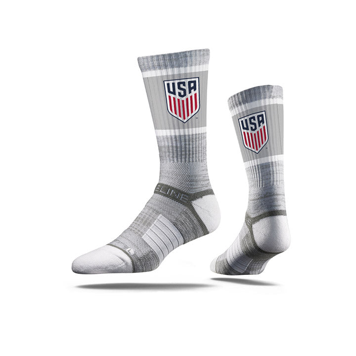 STRIDELINE USA CREST CLASSIC ATHLETIC CREW SOCKS - GRAY