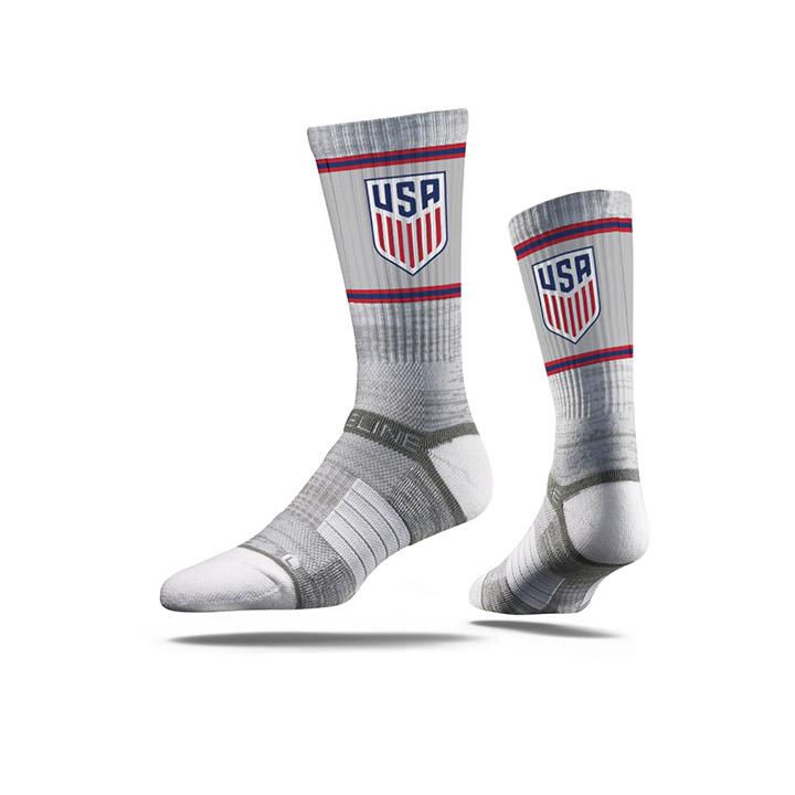 STRIDELINE CREST TRIPLE STRIPES ATHLETIC CREW SOCKS - GREY