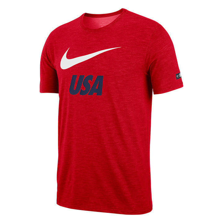 MENS NIKE USA SWOOSH SLUB SS TEE - RED