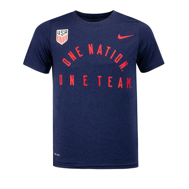 YOUTH NIKE USA ONE NATION. ONE TEAM LEGEND 2.0 DRI-FIT TEE - NAVY