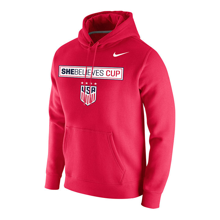 MEN'S NIKE WNT SHEBELIEVES CUP CLUB FLEECE HOODY - RED