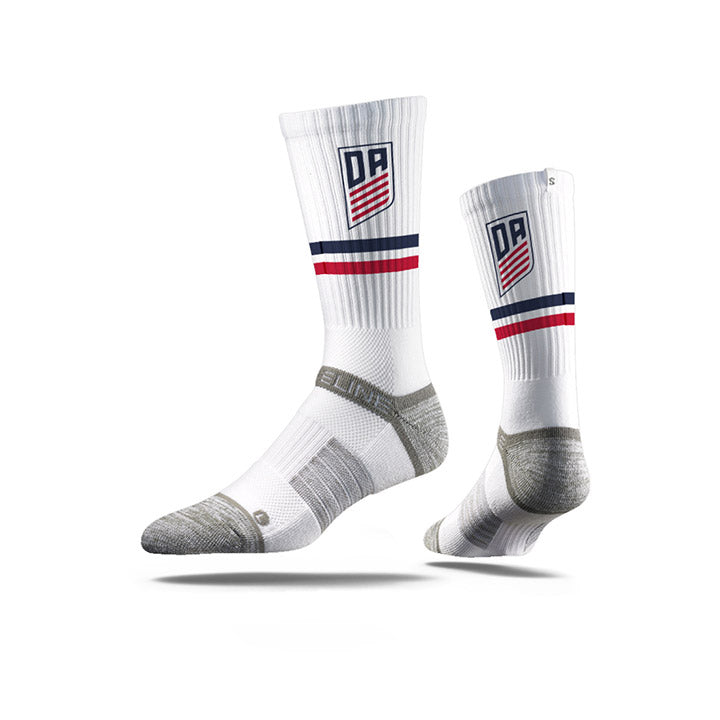 STRIDELINE U.S. SOCCER DA PREMIUM ATHLETIC CREW SOCKS - CLASSIC WHITE