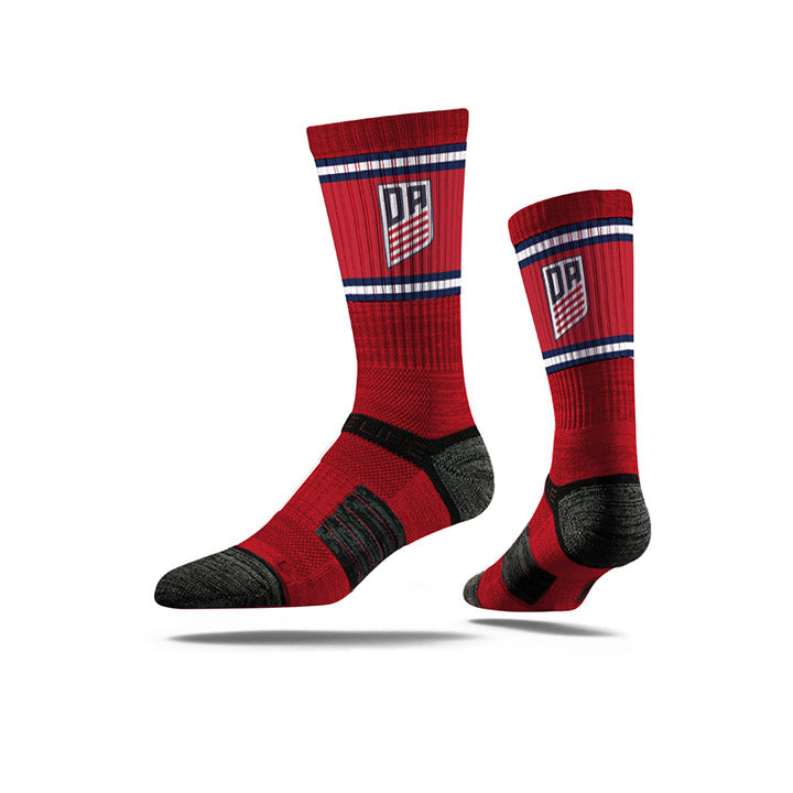STRIDELINE DA PREMIUM ATHLETIC CREW SOCKS - RED