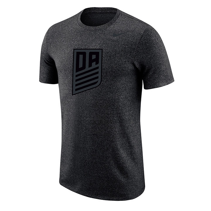 MEN'S NIKE DA TONAL METALLIC BLACK LOGO MARLED SS TEE - BLACK