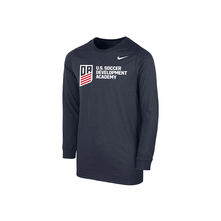YOUTH NIKE DA HORIZONTAL LOGO LS TEE - NAVY