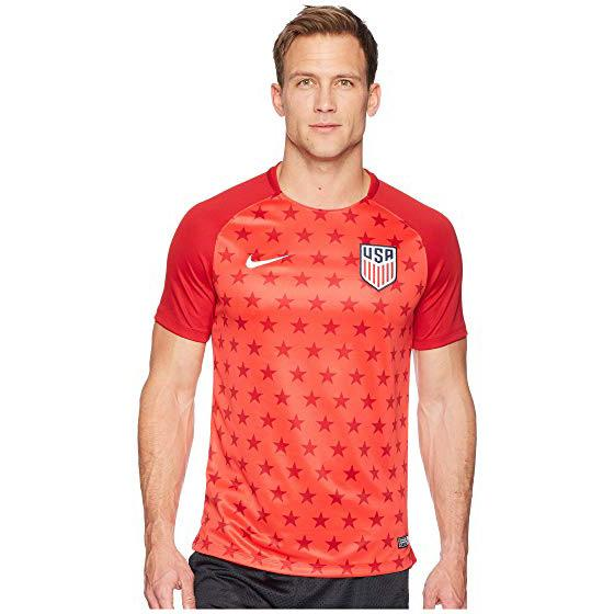 U.S. SOCCER MEN'S NIKE USA SQUAD PRE MATCH TOP SPEED RED