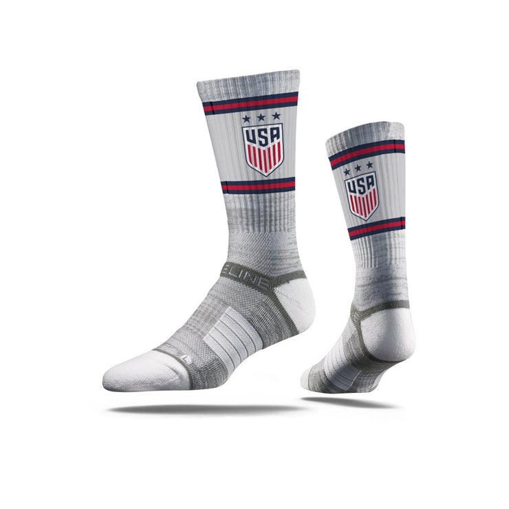 USWNT 3-STAR CREST STRIDELINE TRIPLE STRIPES ATHLETIC CREW SOCKS - GRAY