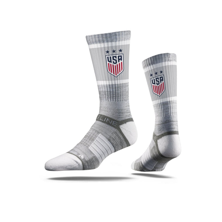 USWNT 3-STAR CREST STRIDELINE CLASSIC ATHLETIC CREW SOCKS - GRAY