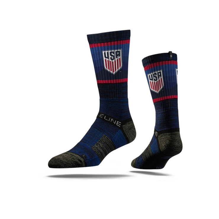 STRIDELINE CREST WAVY NATION ATHLETIC CREW SOCKS - NAVY