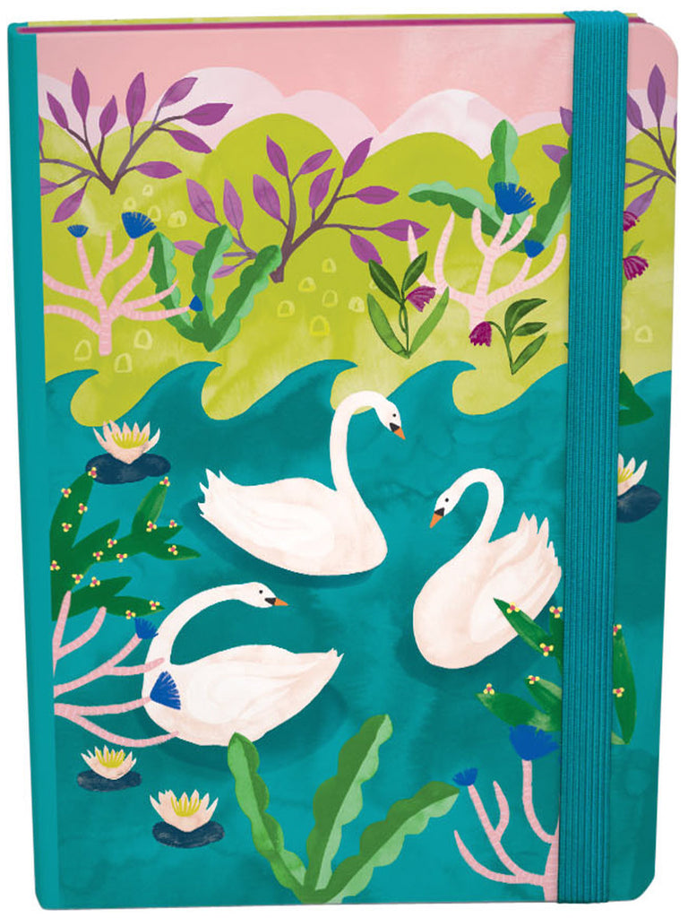 Roger la Borde Swans A5 Journal with elastic featuring artwork by Katie Vernon