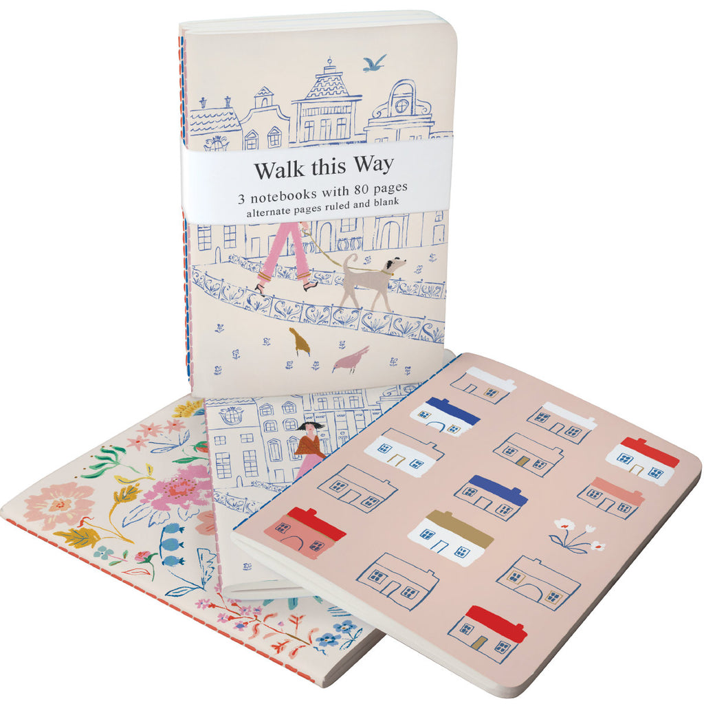 Roger la Borde Walk This Way A6 Exercise Books Bundle featuring artwork by Emily Isabella