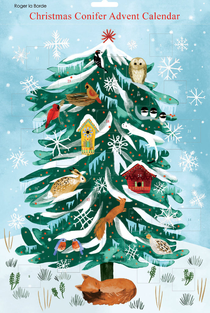 Roger la Borde Christmas Conifer Advent Calendar featuring artwork by Katie Vernon