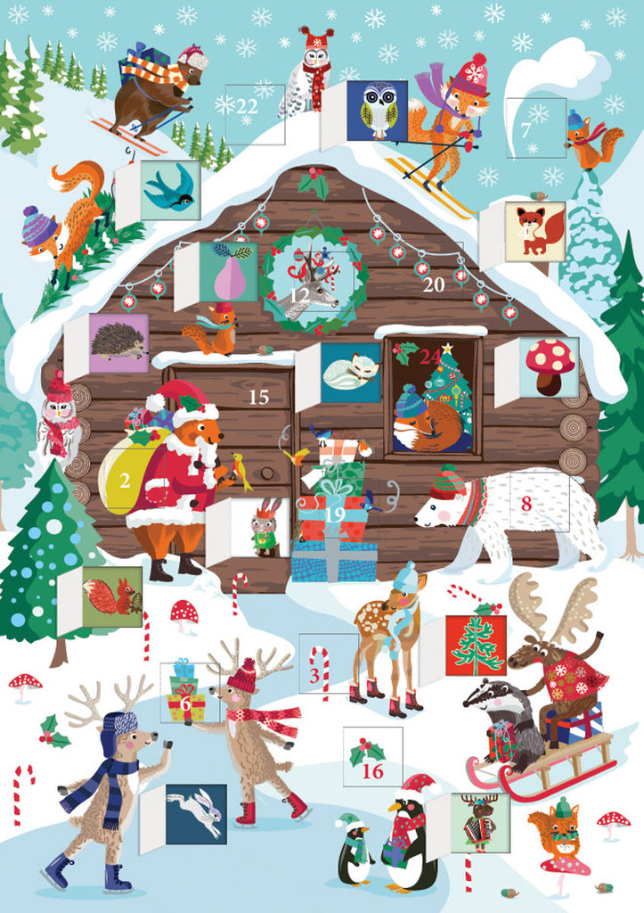 Roger la Borde Chalet Snow Advent Calendar Card featuring artwork by Roger la Borde