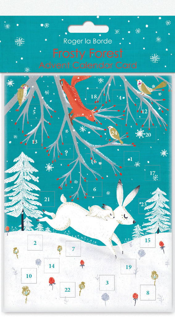 Roger la Borde Frosty Forest Advent Calendar Card featuring artwork by Antoana Oreski