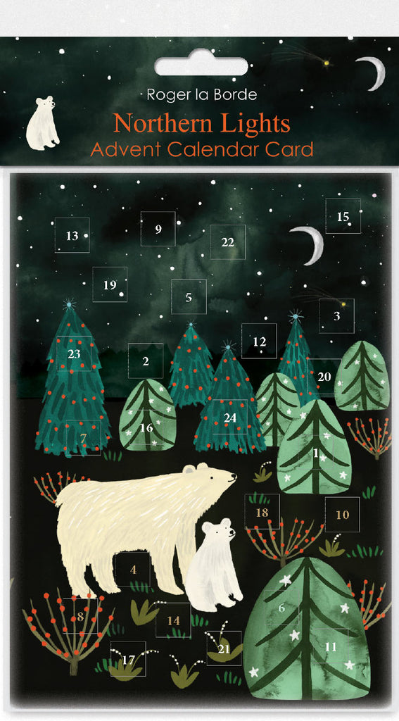 Roger la Borde Northern Lights Advent Calendar Card featuring artwork by Katie Vernon