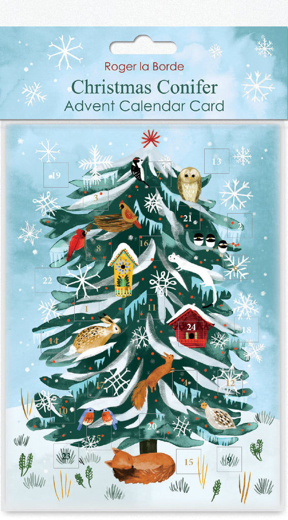 Roger la Borde Christmas Conifer Advent Calendar Card featuring artwork by Katie Vernon