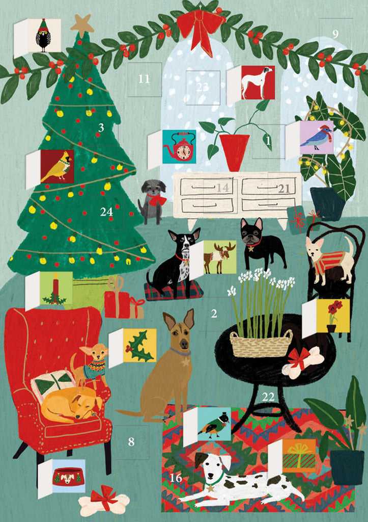 Roger la Borde Cat and Dog Palais Advent Calendar Card featuring artwork by Anne Bentley