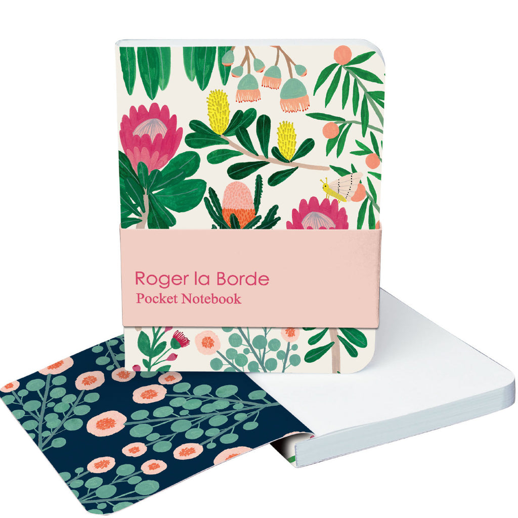 Roger la Borde King Protea Pocket Notebook featuring artwork by Kate Pugsley
