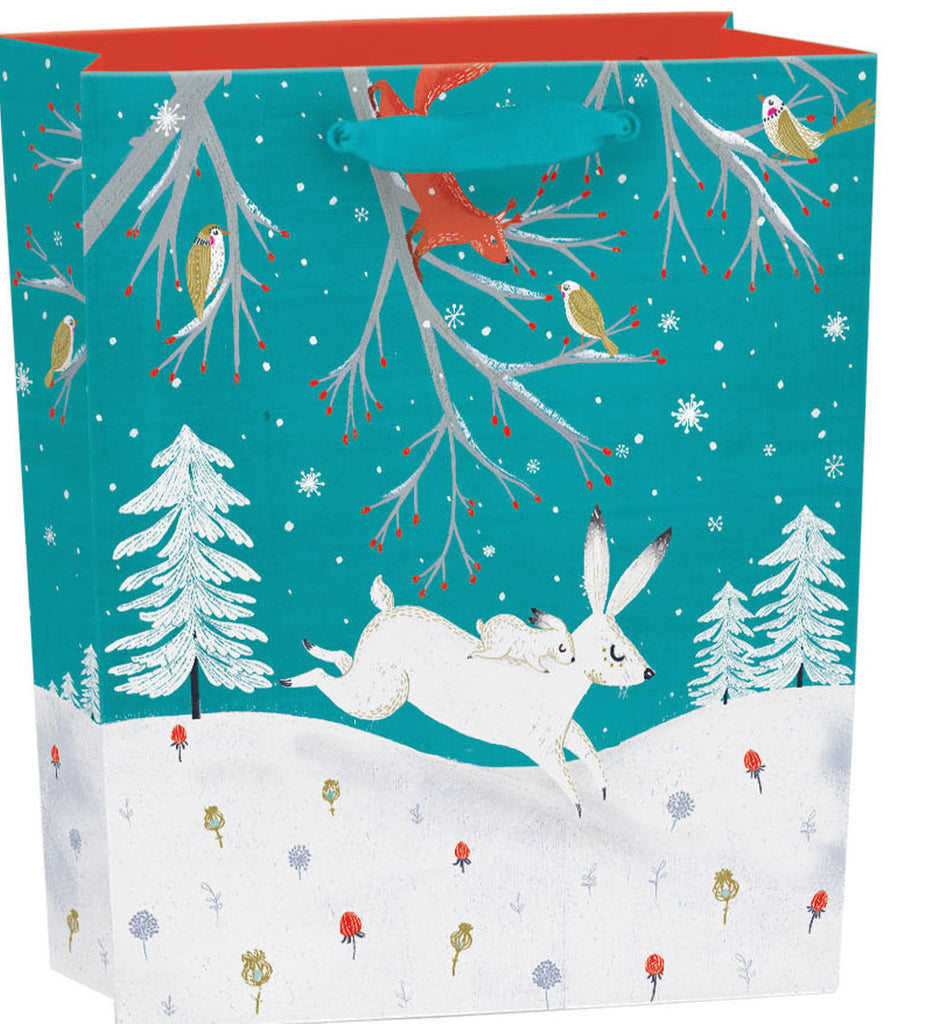 Roger la Borde Frosty Forest Gift Bag featuring artwork by Antoana Oreski
