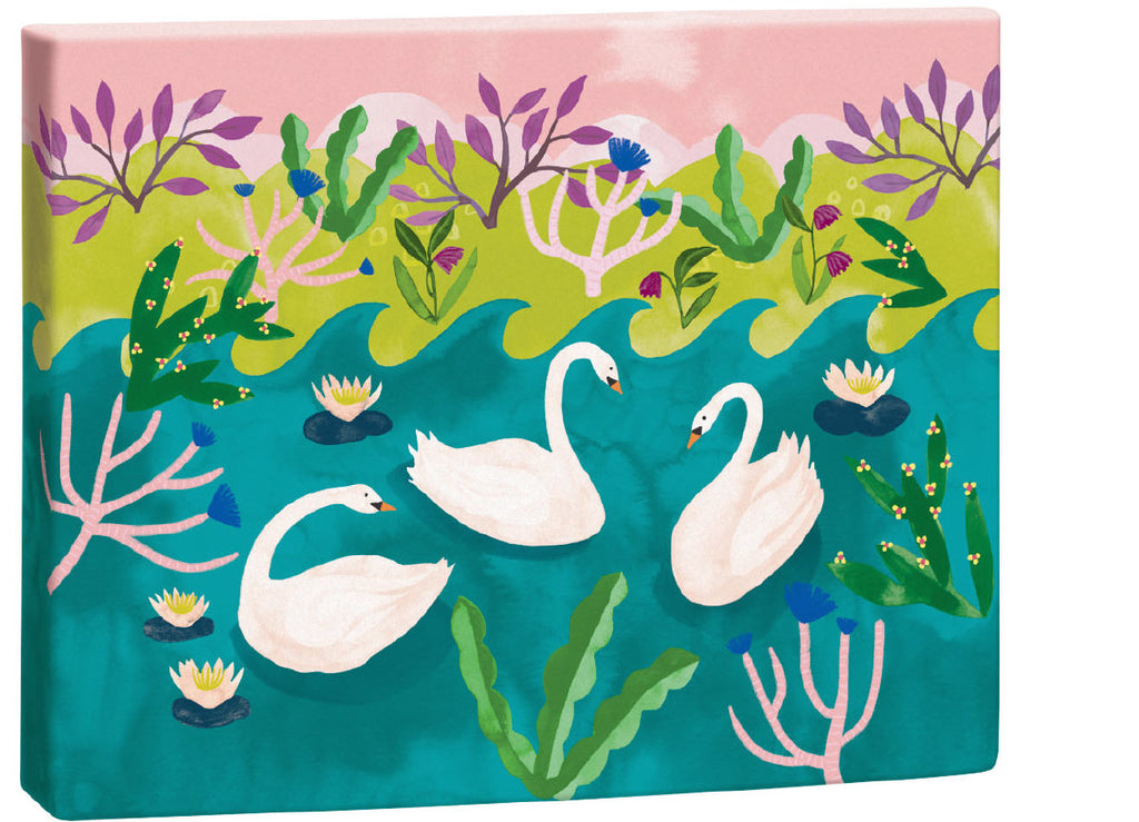 Roger la Borde Swans Chic Notecard Box featuring artwork by Katie Vernon