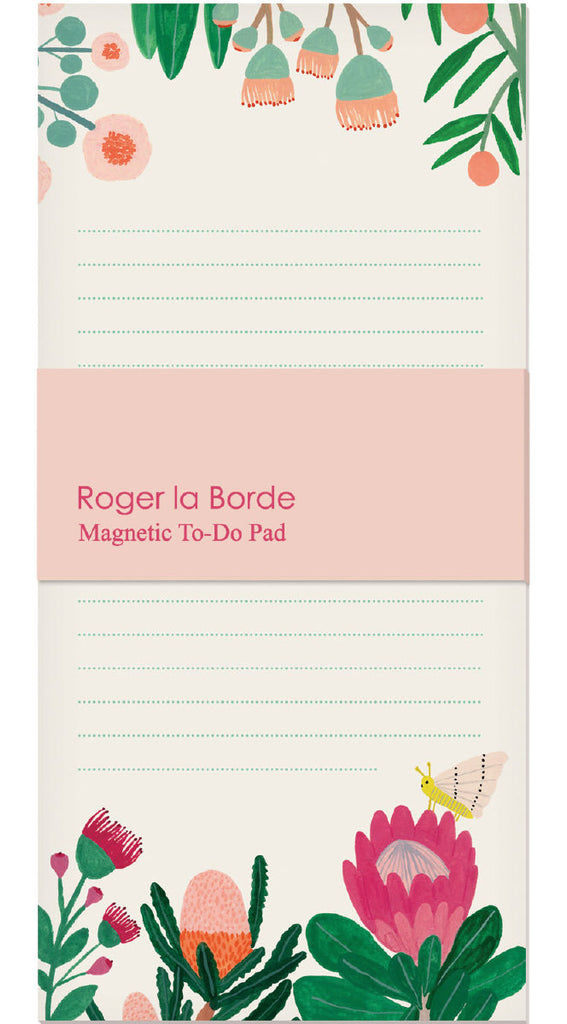 Roger la Borde King Protea Magnet Notepad featuring artwork by Kate Pugsley