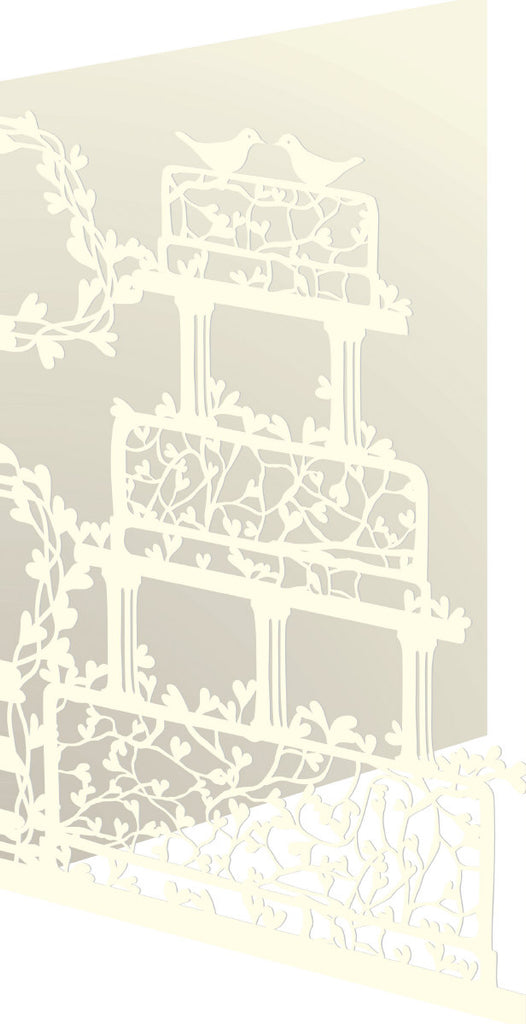 Roger la Borde Wedding Heart Vine Lasercut Card featuring artwork by Roger la Borde