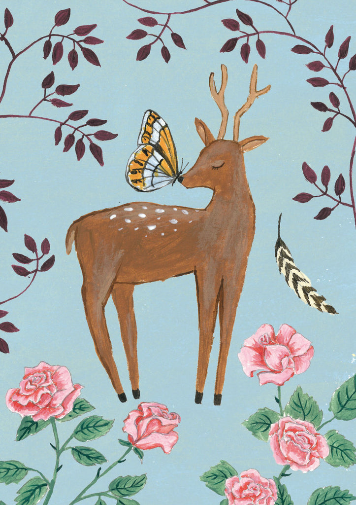 Roger la Borde Fox and Hare Greeting Card featuring artwork by Rebecca Rebouche