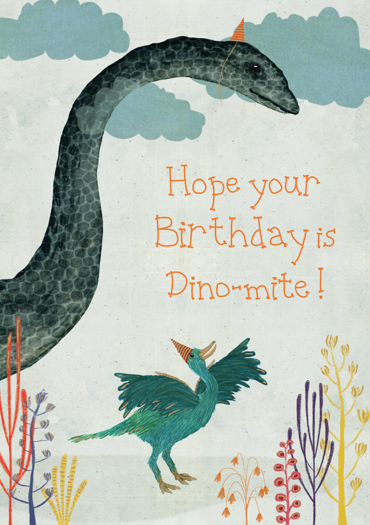 Roger la Borde Dino Mighty Greeting Card featuring artwork by Katherine Quinn