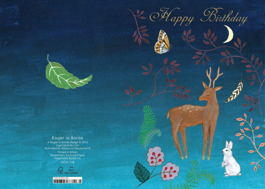 Roger la Borde Fox and Hare Petite Card featuring artwork by Rebecca Rebouche