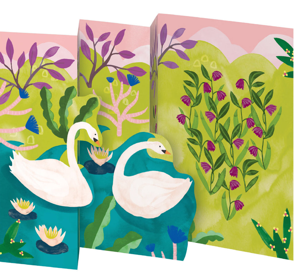 Roger la Borde Swans Petite Lasercut Card featuring artwork by Katie Vernon