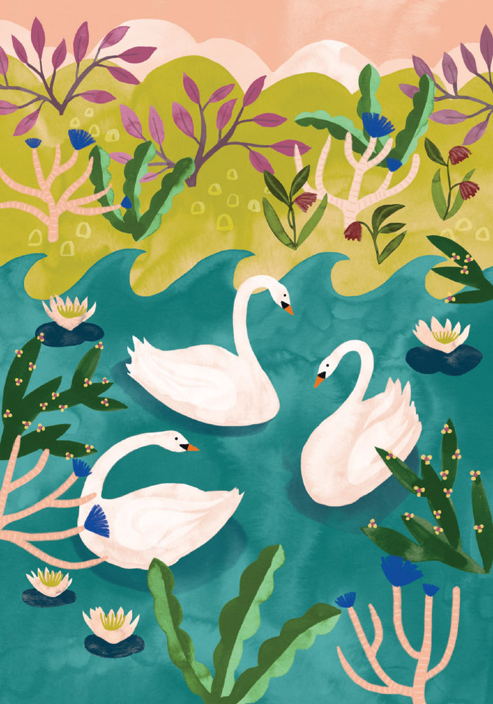 Roger la Borde Swans Petite Card featuring artwork by Katie Vernon