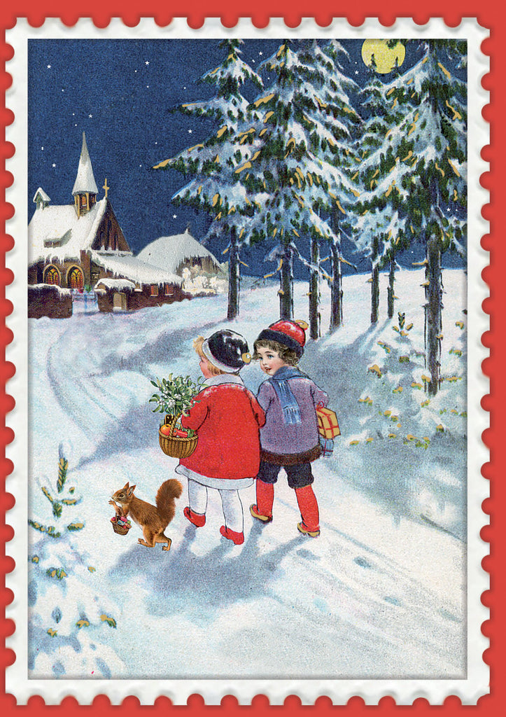 Roger la Borde Vintage Christmas Greeting Card featuring artwork by Barbara Behr