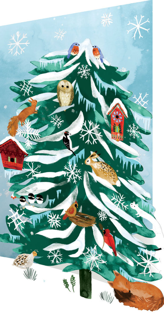Roger la Borde Christmas Conifer Lasercut Card featuring artwork by Katie Vernon