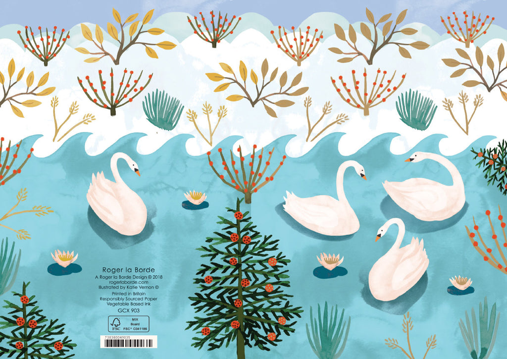 Roger la Borde Swans Greeting Card featuring artwork by Katie Vernon
