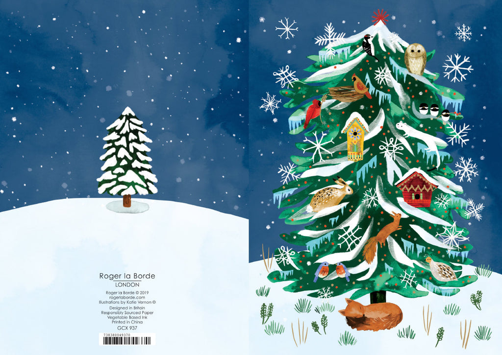 Roger la Borde Christmas Conifer Greeting Card featuring artwork by Katie Vernon