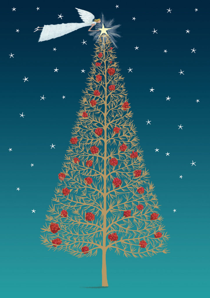 Roger la Borde Christmas Tree Greeting Card featuring artwork by Mary Claire Smith