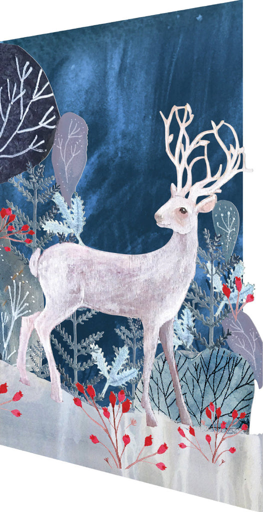 Roger la Borde Silver Stag Lasercut Card Christmas featuring artwork by Kendra Binney
